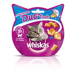 Whiskas DUO Treats, лакомство для кошек, лосось и сыр